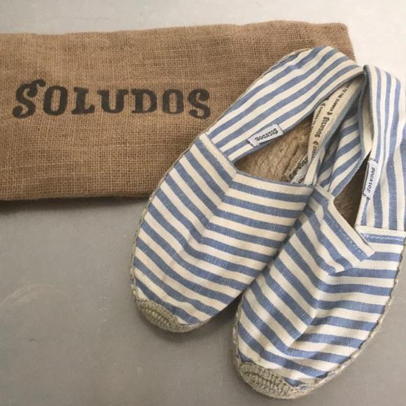 Soludos Blue White Striped Espadrilles